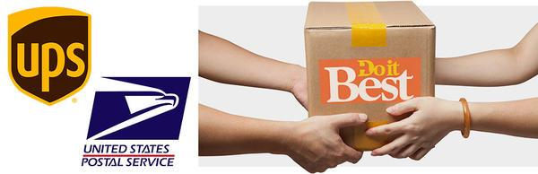 UPS logo USPS logo and two people hold and box labeled Do It Best