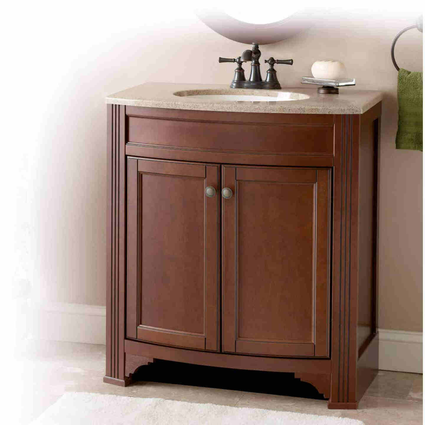 Continental Cabinets Duvall Cafe Black Glaze 30-3/4 In. W x 34-3/4 In. H x 18-1/2 In. D Vanity with Tan/Wht Cultured Marble Top Image 2