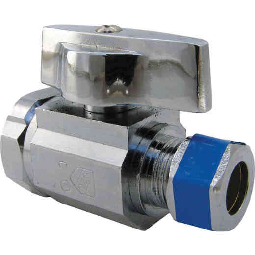 Lasco 1/2 In. IP Inlet x Compression Outlet Brass Straight Stop Valve