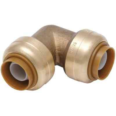 SharkBite 1/2 In. x 1/2 In. 90 Deg. Push-to-Connect Brass Elbow (1/4 Bend)