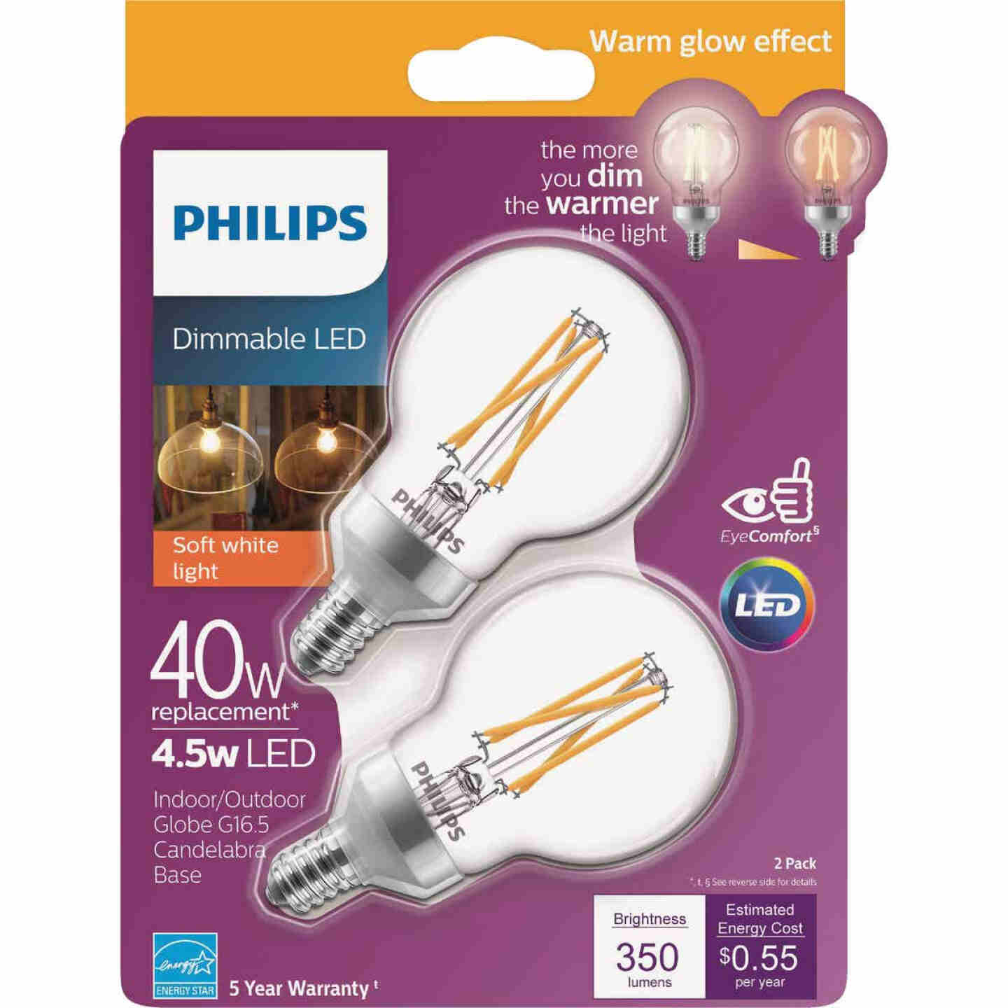 Philips Warm Glow 40W Equivalent Soft White G16.5 Candelabra Dimmable LED Decorative Light Bulb (2-Pack) Image 1