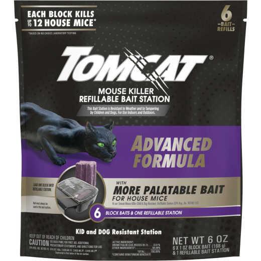 Tomcat Advanced Formula Refillable Mouse Bait Station - 6 Blocks Baits & 1 Refillable Station