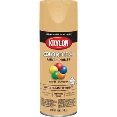 Krylon Colormaxx Matte Spray Paint & Primer, Summer Wheat