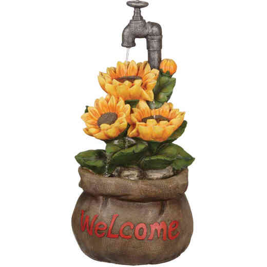 Best Garden 13 In. W. x 28 In. H. x 13 In. L. Polyresin Sunflower Fountain